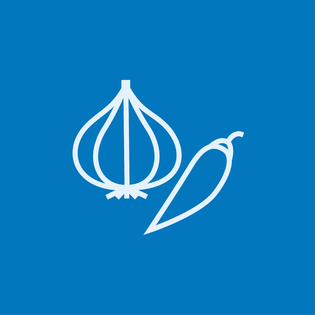 husk: Garlic and chilli thick line icon with pointed corners and edges for web, mobile and infographics. Vector isolated icon.