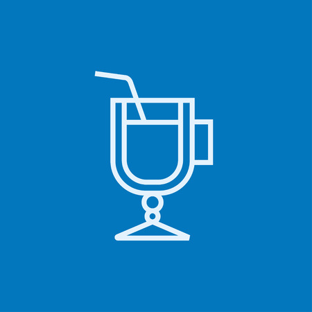 drinking straw: Glass with drinking straw thick line icon with pointed corners and edges for web, mobile and infographics. Vector isolated icon. Illustration
