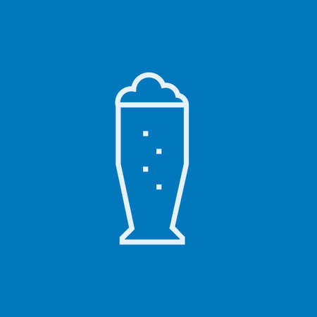 Glass of beer thick line icon with pointed corners and edges for web, mobile and infographics. Vector isolated icon. Çizim