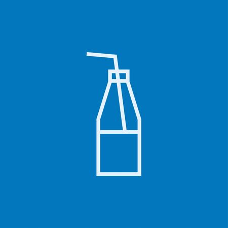non alcoholic: Glass bottle with drinking straw thick line icon with pointed corners and edges for web, mobile and infographics. Vector isolated icon.