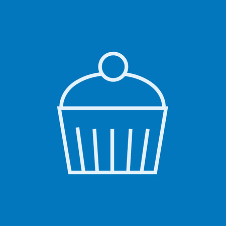 Cupcake with cherry thick line icon with pointed corners and edges for web, mobile and infographics. Vector isolated icon.