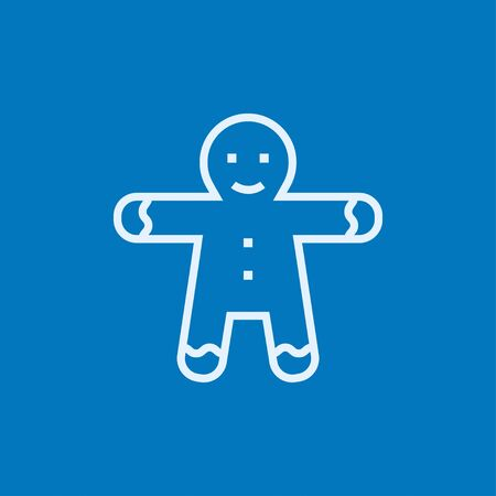 gingerbread cake: Gingerbread man thick line icon with pointed corners and edges for web, mobile and infographics. Vector isolated icon.