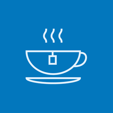 Hot tea in a cup thick line icon with pointed corners and edges for web, mobile and infographics. Vector isolated icon. Ilustração