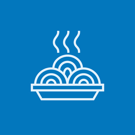 hot plate: Hot meal in plate thick line icon with pointed corners and edges for web, mobile and infographics. Vector isolated icon.