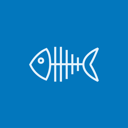 skeleton cartoon: Fish skeleton thick line icon with pointed corners and edges for web, mobile and infographics. Vector isolated icon. Illustration