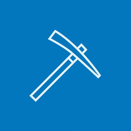 mattock: Pickax thick line icon with pointed corners and edges for web, mobile and infographics. Vector isolated icon.