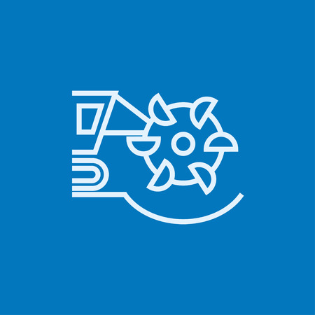 Coal machine with rotating cutting drum thick line icon with pointed corners and edges for web, mobile and infographics. Vector isolated icon.