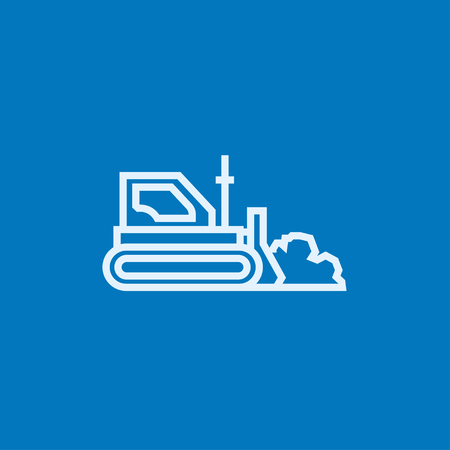 earth moving: Bulldozer thick line icon with pointed corners and edges for web, mobile and infographics. Vector isolated icon.