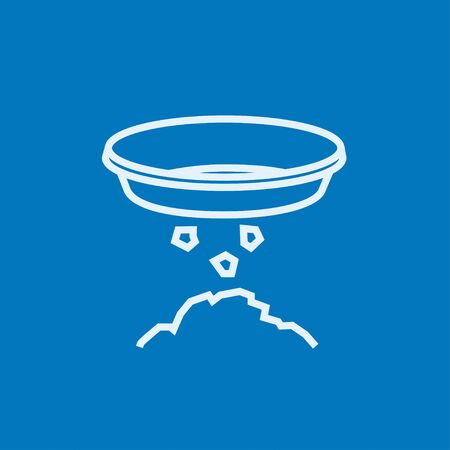 sifting: Bowl for sifting gold thick line icon with pointed corners and edges for web, mobile and infographics. Vector isolated icon.