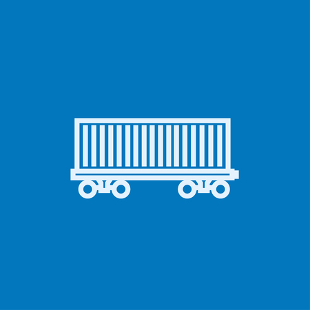 goods train: Cargo wagon thick line icon with pointed corners and edges for web, mobile and infographics. Vector isolated icon.
