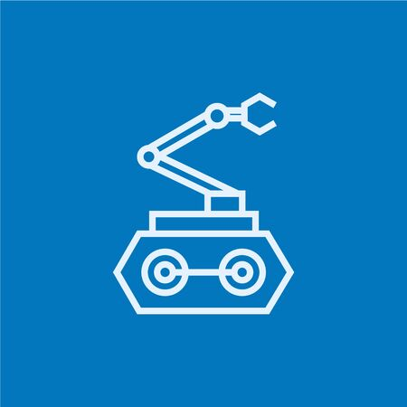 conveyor system: Industrial mechanical robot arm thick line icon with pointed corners and edges for web, mobile and infographics. Vector isolated icon.