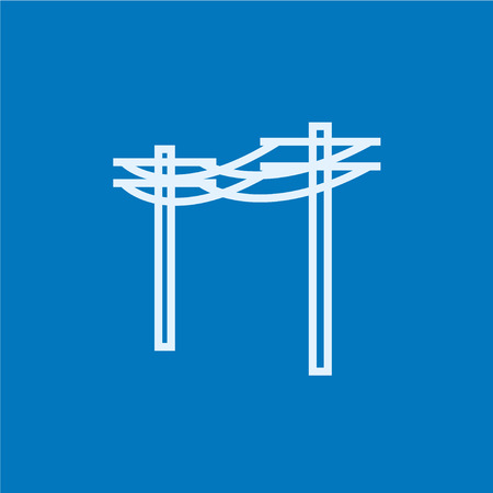 lighting column: High voltage power lines thick line icon with pointed corners and edges for web, mobile and infographics. Vector isolated icon.