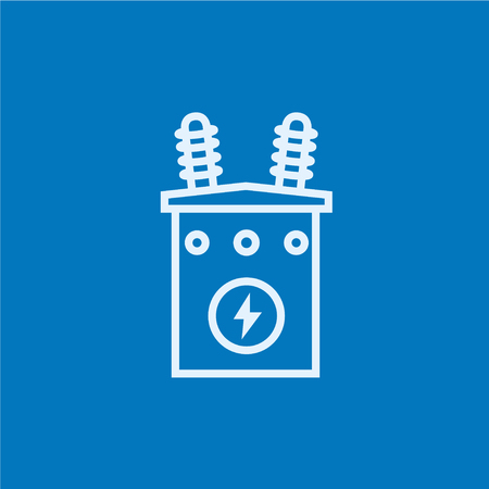 sub station: High voltage transformer thick line icon with pointed corners and edges for web, mobile and infographics. Vector isolated icon. Illustration