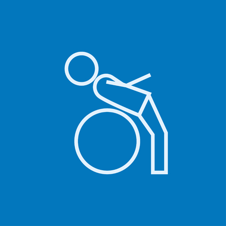 Man doing exercises lying on gym ball thick line icon with pointed corners and edges for web, mobile and infographics. Vector isolated icon.