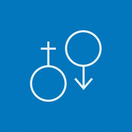 Male and female symbol thick line icon with pointed corners and edges for web, mobile and infographics. Vector isolated icon.