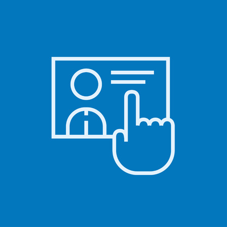 touch screen hand: Hand pushing touch screen button thick line icon with pointed corners and edges for web, mobile and infographics. Vector isolated icon.