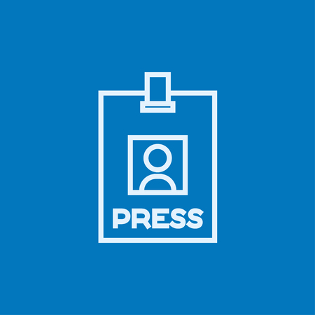Press pass ID card thick line icon with pointed corners and edges for web, mobile and infographics. Vector isolated icon.