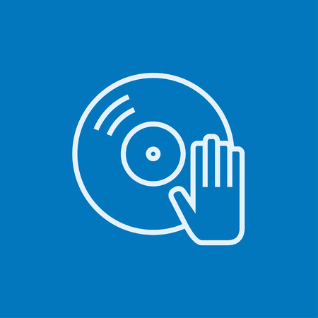 Disc with dj hand thick line icon with pointed corners and edges for web, mobile and infographics. Vector isolated icon.