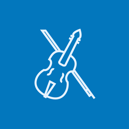 Violin with bow thick line icon with pointed corners and edges for web, mobile and infographics. Vector isolated icon. Ilustrace