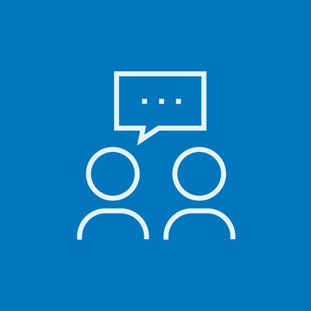 concept: Le persone con piazza discorso sopra le loro teste di spessore icona linea con gli angoli appuntiti e bordi per il web, mobile e infografica. Vettore isolato icona.