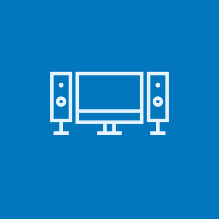 liquid crystal display: Home cinema system thick line icon with pointed corners and edges for web, mobile and infographics. Vector isolated icon.