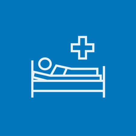 Patient lying on the bed thick line icon with pointed corners and edges for web, mobile and infographics. Vector isolated icon.