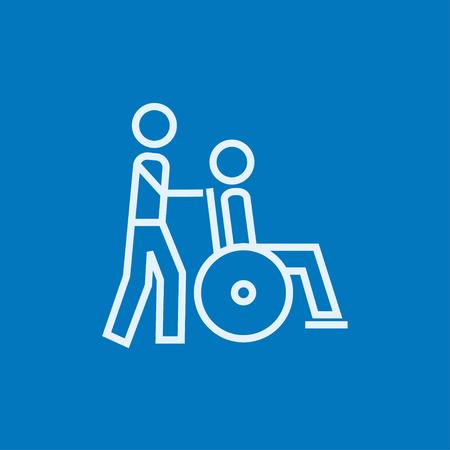 뾰족한 모서리와 웹, 모바일 및 infographics에 대 한 가장자리와 환자 두꺼운 선 아이콘으로 휠체어를 추진하는 남자. 벡터 격리 아이콘입니다.