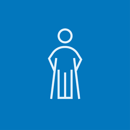 forearm: Man with crutches thick line icon with pointed corners and edges for web, mobile and infographics. Vector isolated icon.