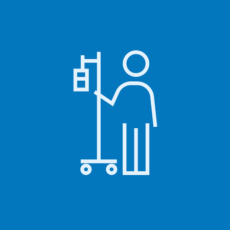 Patient standing with intravenous dropper thick line icon with pointed corners and edges for web, mobile and infographics. Vector isolated icon.