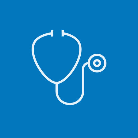 phonendoscope: Stethoscope thick line icon with pointed corners and edges for web, mobile and infographics. Vector isolated icon.