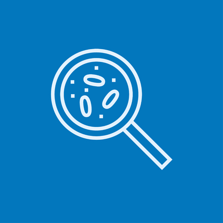 microorganisms: Microorganisms under magnifier thick line icon with pointed corners and edges for web, mobile and infographics. Vector isolated icon.