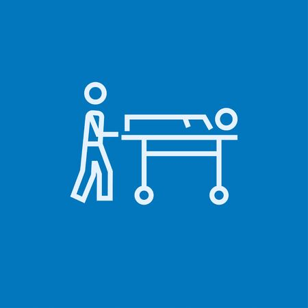 man pushing: Man pushing stretchers with patient thick line icon with pointed corners and edges for web, mobile and infographics. Vector isolated icon. Illustration