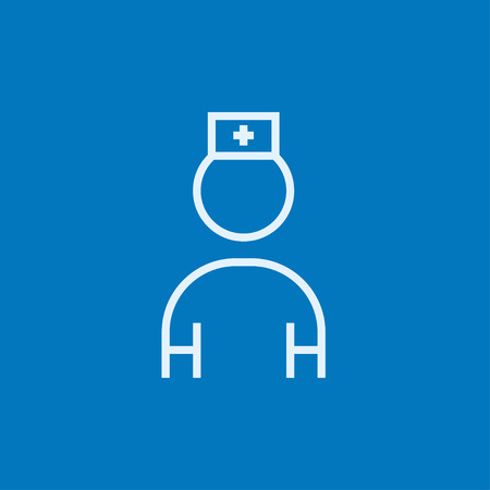 medico: Nurse thick line icon with pointed corners and edges for web, mobile and infographics. Vector isolated icon.