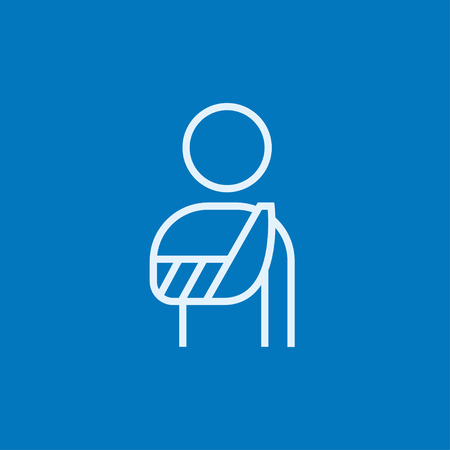 pointed arm: A man standing with broken arm in bandages thick line icon with pointed corners and edges for web, mobile and infographics. Vector isolated icon.