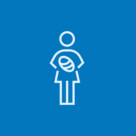 obstetrician: Woman holding the baby thick line icon with pointed corners and edges for web, mobile and infographics. Vector isolated icon. Illustration