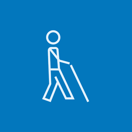 man holding: Blind walking man with a stick thick line icon with pointed corners and edges for web, mobile and infographics. Vector isolated icon. Illustration