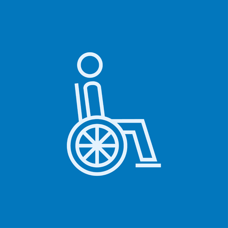 Disabled person sitting in the wheelchair thick line icon with pointed corners and edges for web, mobile and infographics. Vector isolated icon.