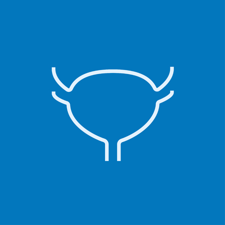 Urinary bladder thick line icon with pointed corners and edges for web, mobile and infographics. Vector isolated icon.