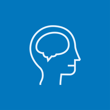 neuronal: Human head with brain thick line icon with pointed corners and edges for web, mobile and infographics. Vector isolated icon.