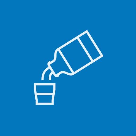 tos: La medicina y la taza de medir icono de línea gruesa con esquinas puntiagudas y bordes para web, móvil y la infografía. aislado vector icono.