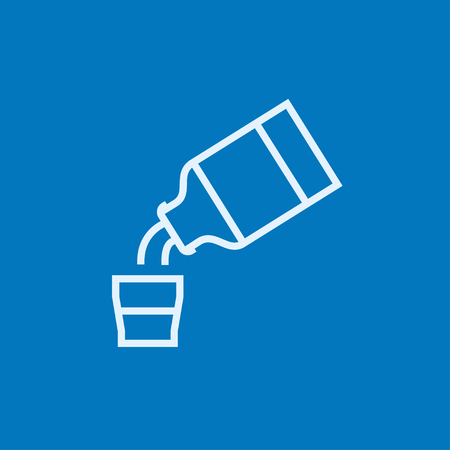 cough medicine: Medicine and measuring cup thick line icon with pointed corners and edges for web, mobile and infographics. Vector isolated icon.