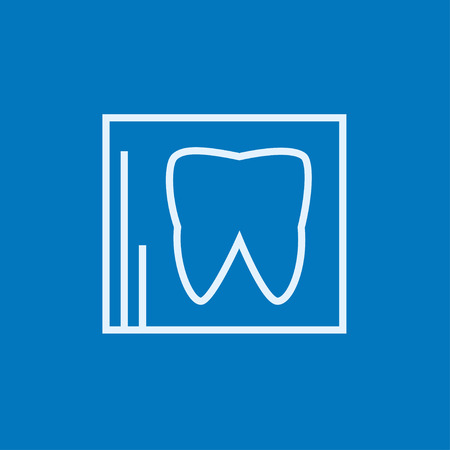 radiograph: X-ray of the tooth thick line icon with pointed corners and edges for web, mobile and infographics. Vector isolated icon.