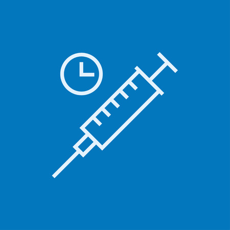Syringe with clock thick line icon with pointed corners and edges for web, mobile and infographics. Vector isolated icon. Illustration