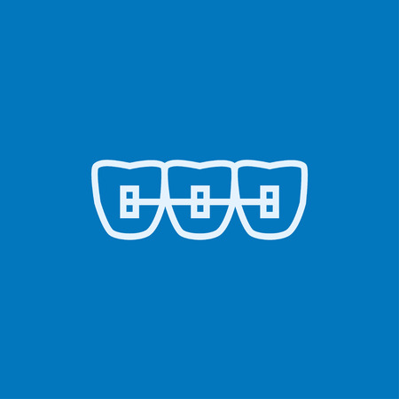 Orthodontic braces thick line icon with pointed corners and edges for web, mobile and infographics. Vector isolated icon. Ilustracja