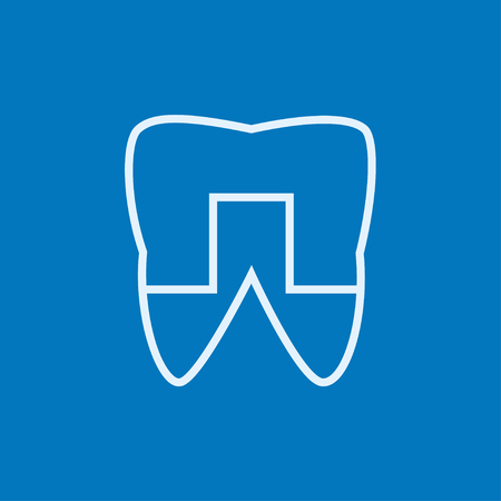 Crowned tooth thick line icon with pointed corners and edges for web, mobile and infographics. Vector isolated icon. Illustration