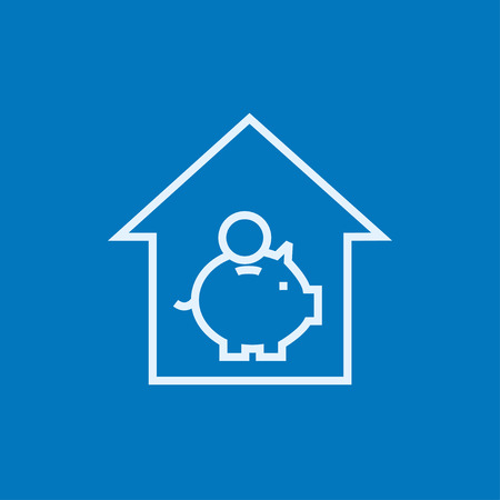 House savings thick line icon with pointed corners and edges for web, mobile and infographics. Vector isolated icon. Ilustrace