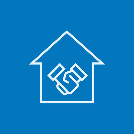 Handshake and successful real estate transaction thick line icon with pointed corners and edges for web, mobile and infographics. Vector isolated icon. Ilustrace