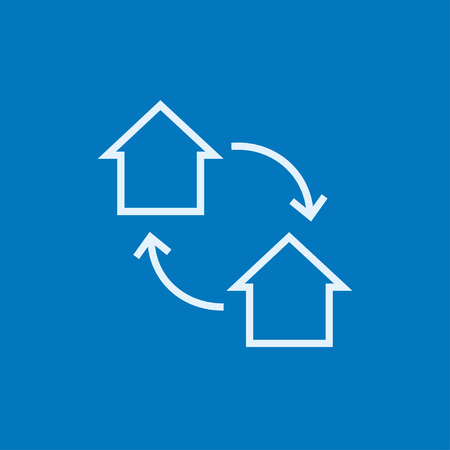 House exchange thick line icon with pointed corners and edges for web, mobile and infographics. Vector isolated icon.