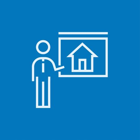 demonstrate: Real estate agent showing the house thick line icon with pointed corners and edges for web, mobile and infographics. Vector isolated icon.