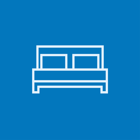 double bed: Double bed thick line icon with pointed corners and edges for web, mobile and infographics. Vector isolated icon. Illustration